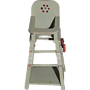 Vintage Doll Miniature High Chair Converts to Chair & Table On wheels Dollhouse highchair