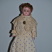 Antique Doll Wax over Papier Mache Paper Mache Glass Eyes