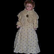 Antique Doll Wax over Papier Mache Paper Mache Glass Eyes