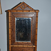 Antique Doll Bamboo Wardrobe Mirror Front W/ Drawer For Fashion Doll Cabinet