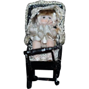 Tiny Doll Artist Doll Miniature in Metal Pram Carriage Dollhouse