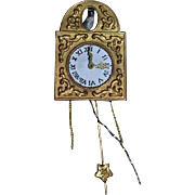 Old Doll Miniature Metal Wall Clock for Dollhouse W/ Miniature Metal Bird Cuckoo