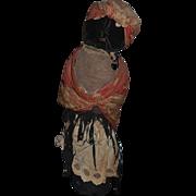 Antique Doll Black Cloth Folk Art Unusual Sewn Features WONDERFUL