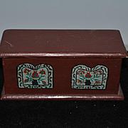 Vintage Doll Miniature Trunk Tole Painted Dollhouse Artist