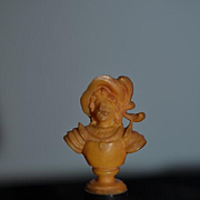 Old Doll Miniature Dollhouse Celluloid Bust of Lady Fancy on Pedestal Staute