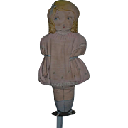 Old Cloth Doll Sewn Features Cute! Rag Doll