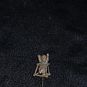Old Doll Miniature Baby Stick Pin Hat Pin Fussy Baby in Stroller OLD