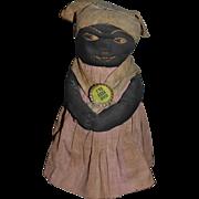 Antique Doll Black Cloth Rag Doll Wonderful Folk Art