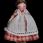 TINY Doll Miniature Dollhouse Artist Wood Doll Signed GHB 1983