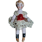 Antique Doll Miniature All Bisque Jointed China Head Dollhouse Dressed