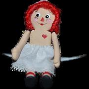 Vintage Doll Artist Doll Raggedy Ann Signed BB Miniature Dollhouse