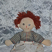 Vintage Raggedy Ann Cloth Doll Hand Made Happy