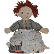 Vintage Raggedy Ann Cloth Doll Hand Made Happy