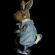 Antique Doll Miniature Dollhouse Peter Rabbit Cold Painted Metal Figurine