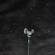 Old Enamel Chicken Rooster Hat Pin Your doll would LOVE Fancy Wonderful