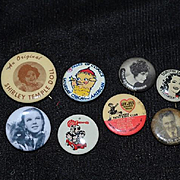 Vintage Lot of Pinbacks Kewpie Movie Stars Shirley Temple Effanbee Judy Garland Buttons Some for Dolls