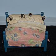 Old Wood and Cloth Doll Black Dolls In Bed Unusual Folk Art Miniature Dollhouse