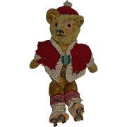 Old Teddy Bear Mohair Jointed W/ outfit and old Roller Skates CUTE!
