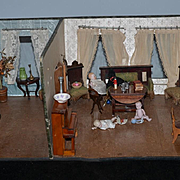 Old Dollhouse Miniature Room Box W/ Dolls and Miniatures Bisque Dolls German