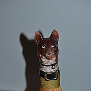 Antique Dog Whisk Broom Miniature Porcelain Half Doll