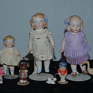 Antique Doll Miniature All Bisque Dolls Doll Lot Dollhouse W/ Duck Goose