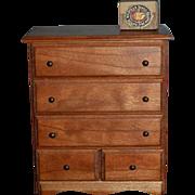 Wonderful Doll Miniature Chest Warren Dick Cherry Wood Artist Dollhouse W/ Miniature Cigar Box