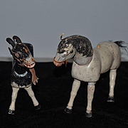 Antique Doll Schoenhut  Goat and Horse Jointed Animals For Circus Lot