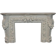 Vintage Doll Fireplace Fire Place W/ Fancy Molding W/ Animal Head and Flowers Miniature Dollhouse