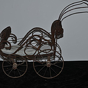 Wonderful Old Doll Wire Mesh Petite Pram Baby Carriage PERFECT Small Size