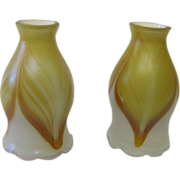 Pair art glass shades