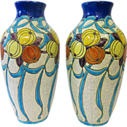 Boch Fres Pottery Vases