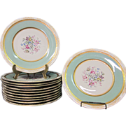 12 decorated Czechoslovakian dinner plates