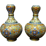 A pair of Chinese Cloisonne' vases