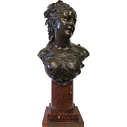 Signed Bronze Bust, French, late 19th century,