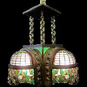 Vintage Bronze & Leaded Glass 1920's/30's Ceiling Fixture