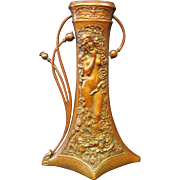 Vintage Art Nouveau Patinated Bronze Vase by Charles Korschann