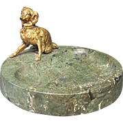 Vintage Bronze Figural (dog) & Marble Card Tray