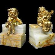 Art Deco Gilt Bronze & Onyx Bookends