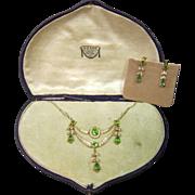 Gold & Peridot Necklace & Earrings
