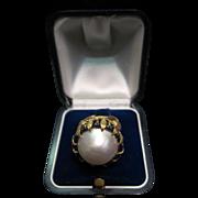 Vintage Mobe Pearl & 14K Gold Ring