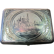 Vintage Russian Niello Sterling Silver Cigarette Case