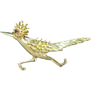 Vintage 14K gold Road Runner Pin