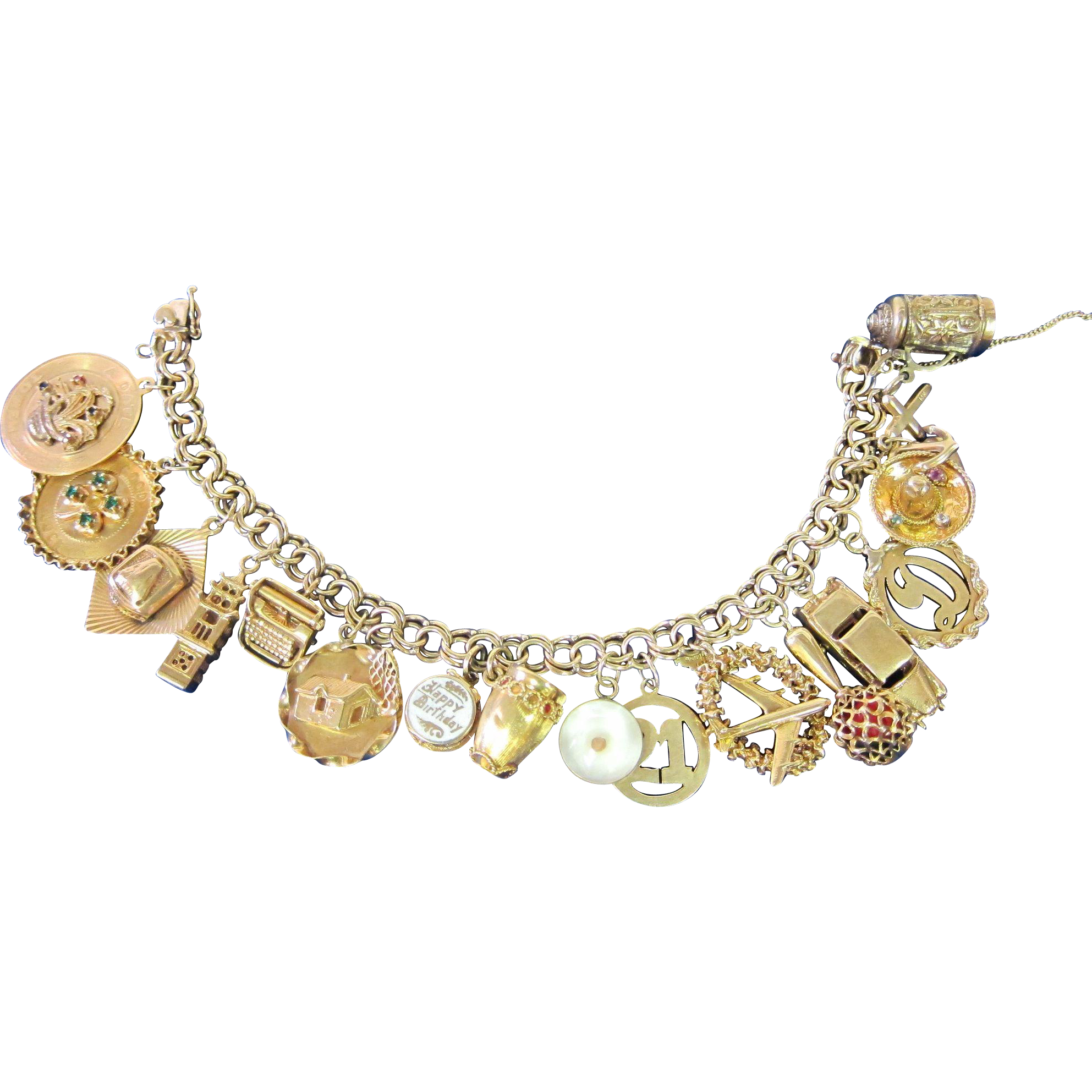 Vintage 14k Gold Charm Bracelet, Circa 1960's