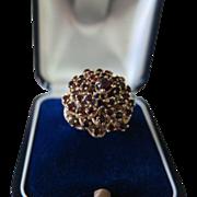 Vintage 1960's 10K Gold & Garnet Dome Ring