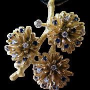 Vintage Late 20th Century 18K Gold, Diamond & Sapphire Pendant