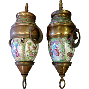 Vintage Pair of Chinese 19th Century Gas Lanterns