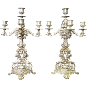 Vintage 19th Century Silvered Bronze Candelabra (2)