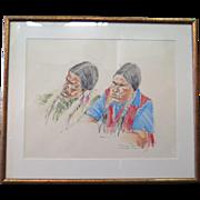 Vintage American Indian Pastel, artist signed