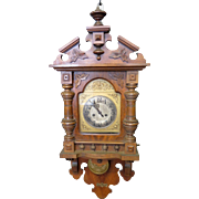 Vintage Continental Austrian Oak Wall Clock