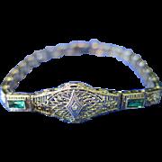Vintage Late 19th Century Filigree 14K Gold w/ Diamond Bracelet